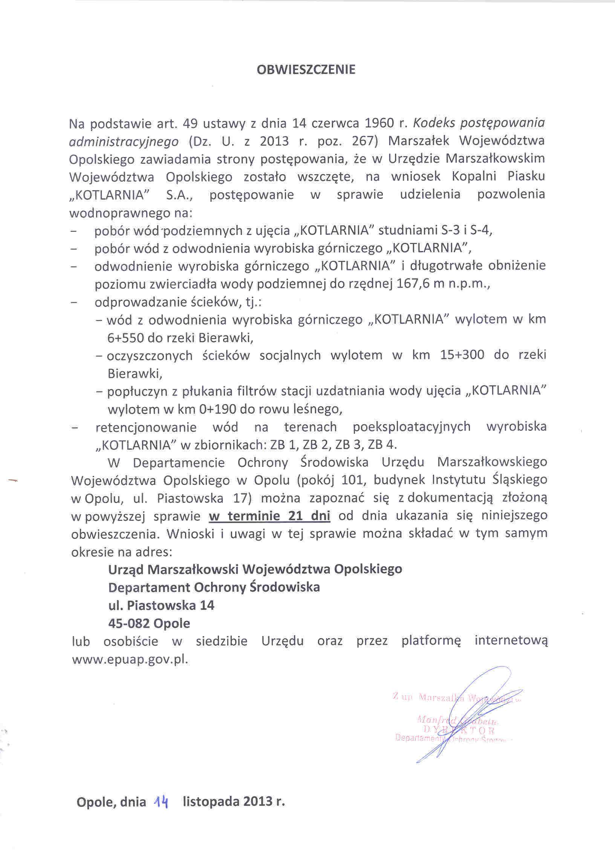 Obwieszczenie Marszałka Województwa Opolskiego w sprawie wszczęcia postępowania.jpeg