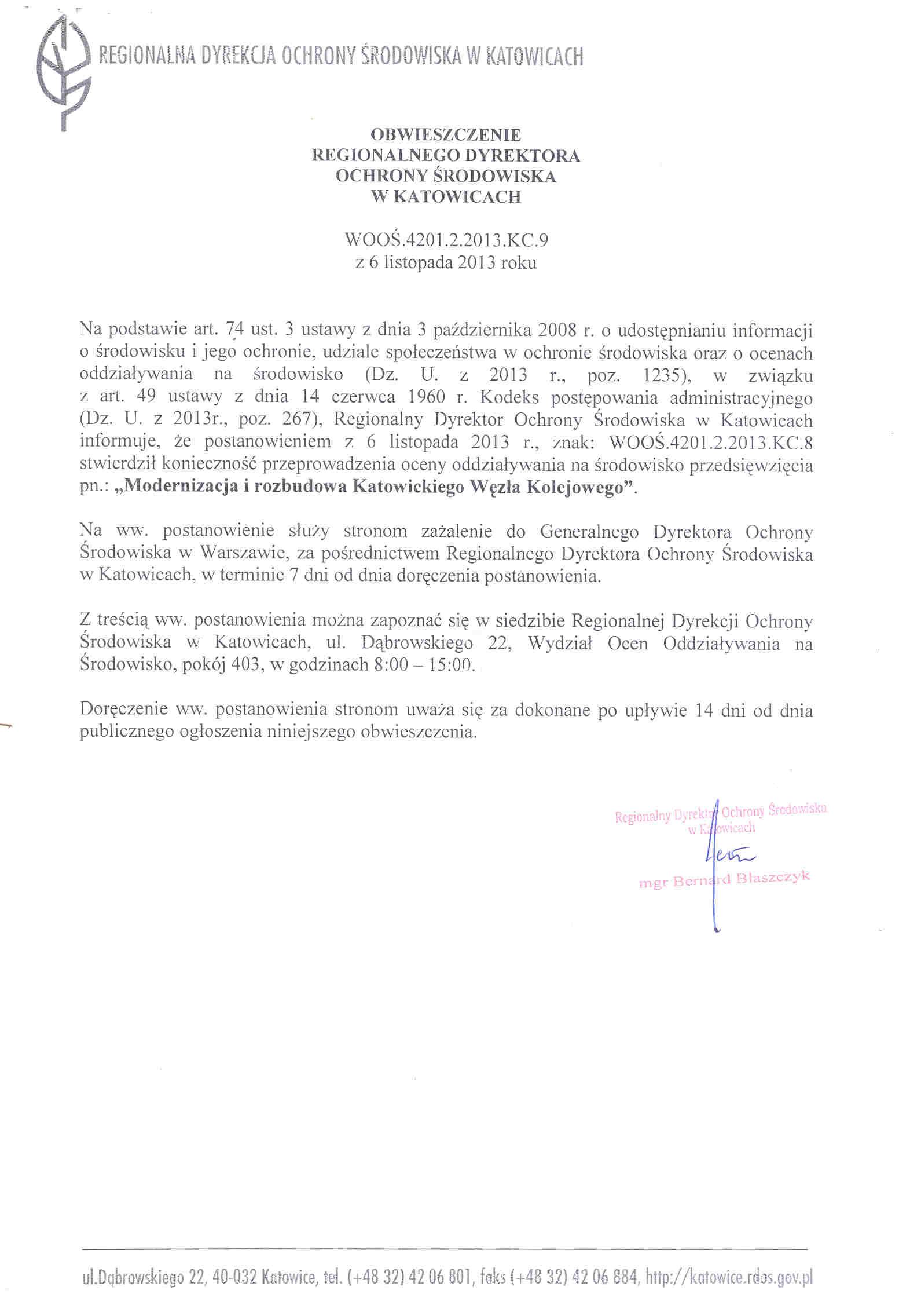 Obwieszczenie Regionalnego Dyrektora Ochrony Środowiska w sprawie oceny oddziaływania przedsięwzięcia na środowisko.jpeg